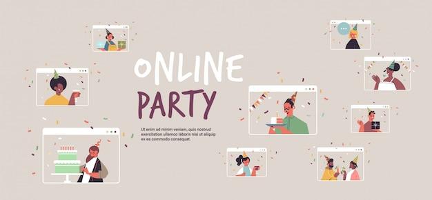 Setzen sie menschen in festliche hüte, die das online-mix-rennen für geburtstagsfeiern feiern