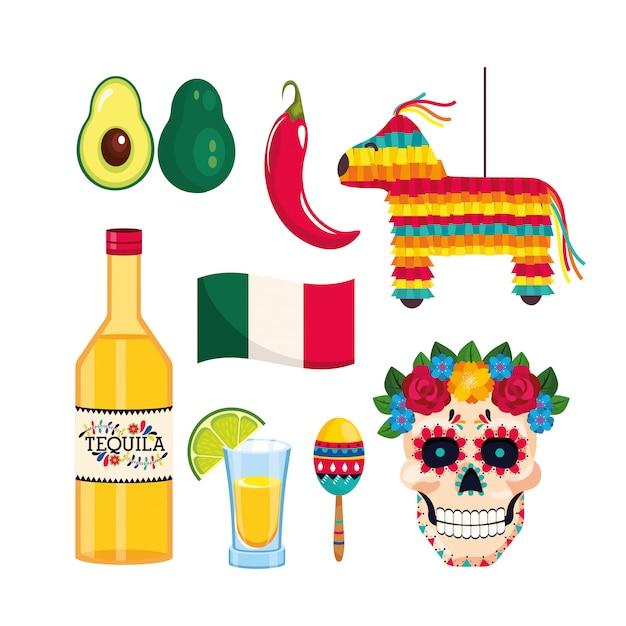 Setzen sie mexikanische dekoration auf die traditionereignisfeier