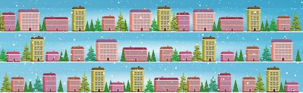 Setzen sie niedliche häuser in der wintersaison verschneite stadt straßenfeiertagsfeier konzept stadtbild schneefall