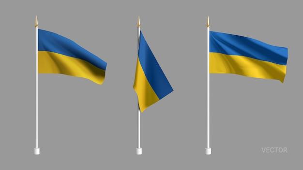 Setzen sie realistische ukraine flagge. winkende flagge textil. vorlage für produkte, banner, faltblätter, zertifikate und postkarten. illustration