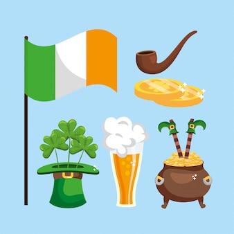 Setzen sie st patrick-dekorationsereignis mit irland-flagge