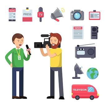 Setzen sie thematische symbole für rundfunk und interview