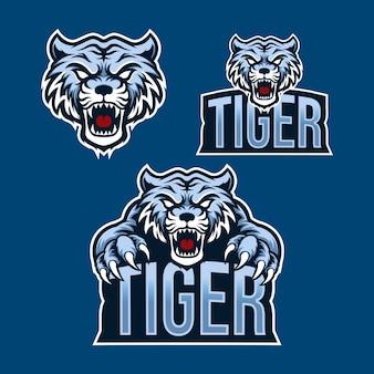Setzen sie tiger maskottchen logo