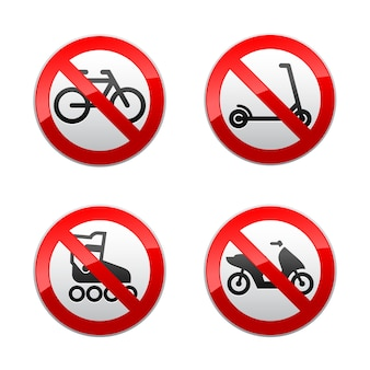 Setzen sie verbotene zeichen - aktive sportarten
