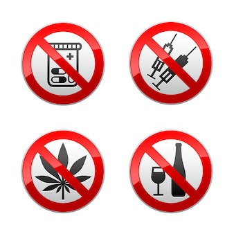 Setzen sie verbotene zeichen - drogen