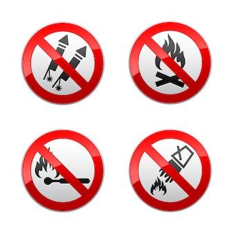 Setzen sie verbotene zeichen - feuer