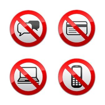 Setzen sie verbotene zeichen - kommunikation