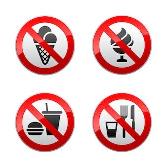 Setzen sie verbotene zeichen - lebensmittel