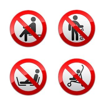 Setzen sie verbotene zeichen - menschen