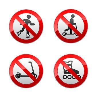 Setzen sie verbotene zeichen - roller, inline-skates