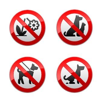 Setzen sie verbotene zeichen - tiere