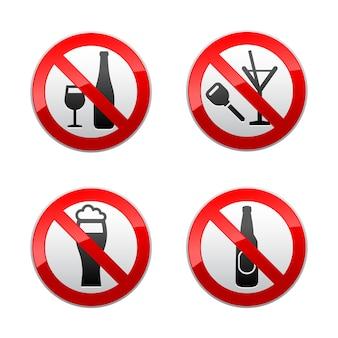 Setzen sie verbotene zeichen - trinken sie nicht