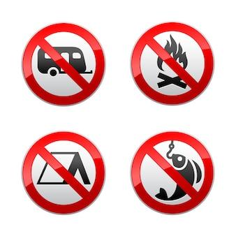 Setzen sie verbotene zeichen