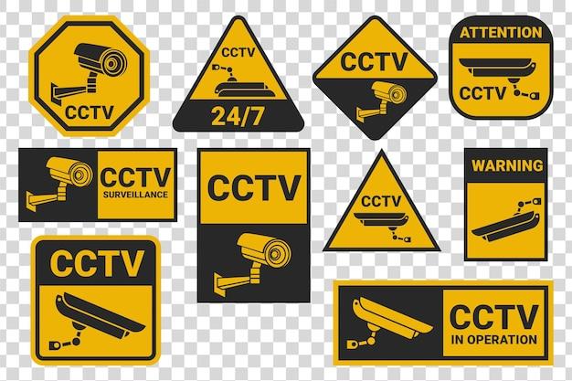 Setzen sie warnaufkleber für die überwachung von cctv-kameras mit sicherheitsalarm