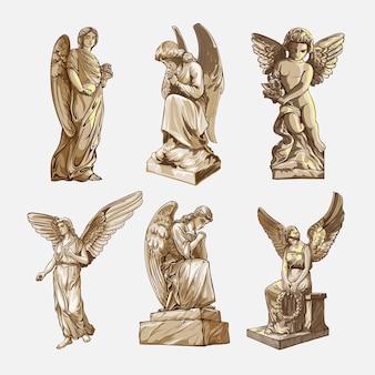 Setzen sie weinende betende engelsskulpturen mit flügeln in bewegung. monochrome darstellung der statuen eines engels. isoliert. vektor-illustration
