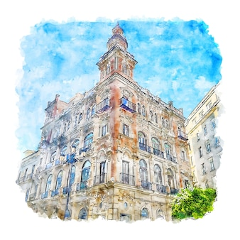 Sevilla spanien aquarell skizze hand gezeichnete illustration