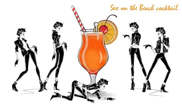 Sex-on-the-strand-cocktail. modemädchen in der artskizze mit cocktail. vektorillustration
