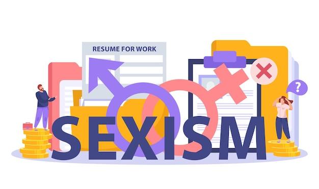 Sexismus-diskriminierung einstellung gehaltslücke symbole flache zusammensetzung mit lebenslauf vorlage mann auf haufen münzen template
