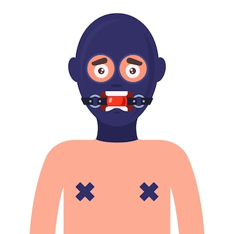 Sexsklavin in latexmaske und geknebelt. flache illustration
