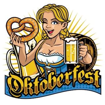 Sexy bayerisches mädchen, das oktoberfest feiert