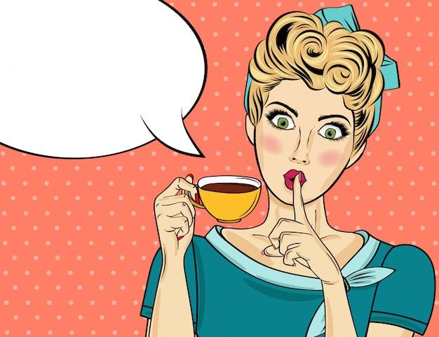 Sexy blonde pop-art-frau mit kaffeetasse. werbeplakat in comic-stil. vektor