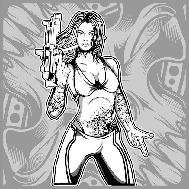 Sexy frau, die eine gewehrhandzeichnung hält