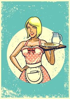 Sexy kellnerin der weinlese, die frühstück darstellt