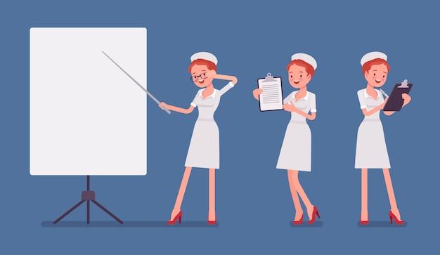 Sexy krankenschwester am präsentationsbanner