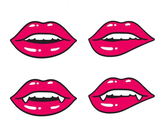 Sexy lippenillustration eingestellt mit vampirszähnen