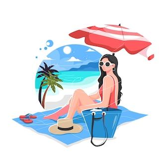 Sexy mädchen, das den sommer auf der strandvektorillustration genießt