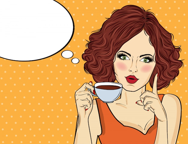 Sexy pop-art-frau mit kaffeetasse. werbeplakat in comic-stil. vektor