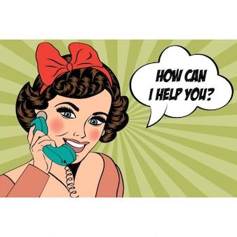 Sexy schöne frau auf dem retro-telefon popkunstillustration im chat