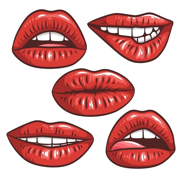 Sexy weibliche lippen mit rotem lippenstift vektor mode illustration frau mund set gesten sammlung