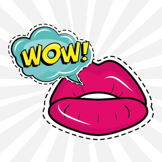 Sexy weibliche lippen mit wow-wort-pop-art-aufkleber
