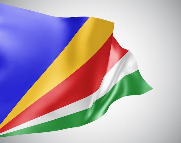 Seychellen, vektorflagge mit wellen und kurven im wind auf weißem hintergrund.