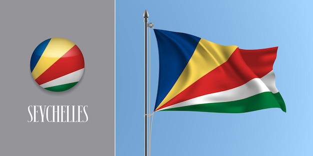 Seychellen wehende flagge auf fahnenmast und rundem symbol. realistische 3d des kreisknopfes