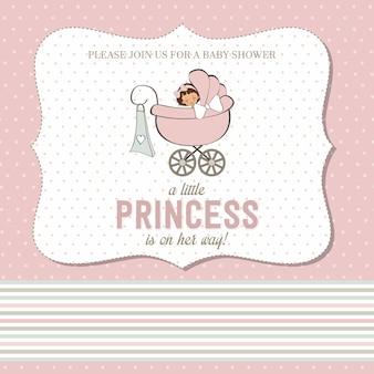 Shabby chic babymädchen dusche karte