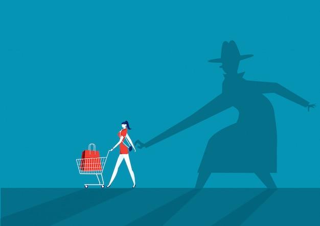 Shadow man taschendiebstahl brieftasche aus der handtasche