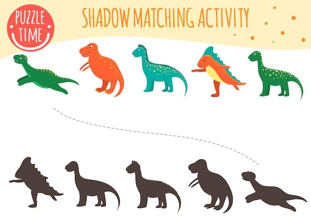 Shadow matching aktivität für kinder. dinosaurier thema. nette lustige lächelnde dinos.