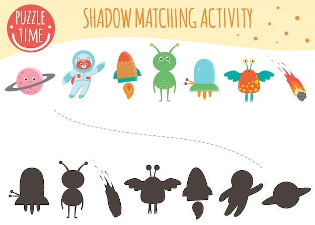 Shadow matching aktivität für kinder. weltraumthema. nette lustige lächelnde charaktere.