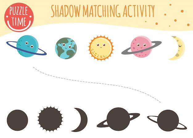 Shadow matching aktivität für kinder. weltraumthema. nette lustige planeten.