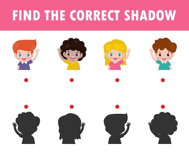 Shadow matching game für kinder. visuelles spiel für kinder finden den richtigen schatten