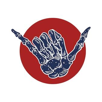 Shaka handbewegung, skelett