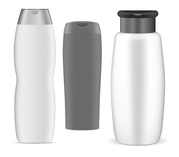 Shampooflasche, weiße kunststoffverpackung, 3d-design. kollektion ovaler kosmetiktuben