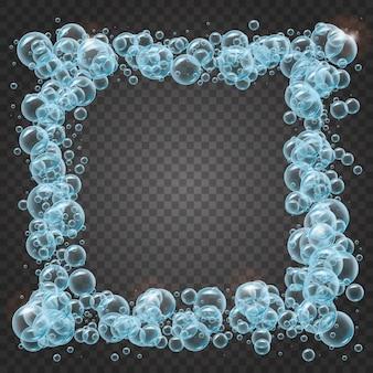 Shampoorahmen von realistischen wasserblasen