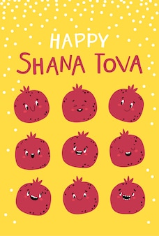 Shana tova grußkarte, rosch haschana grußkarte, mit feiertagssymbol, granatapfel auf einem honighintergrund. lustige charaktere mit unterschiedlichen emotionen. jüdisches neujahr. kindliche illustration