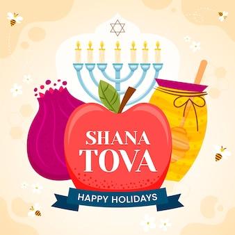 Shana tova handgezeichnetes thema
