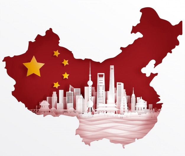 Shanghai, china-flagge mit weltberühmten marksteinen im papier schnitt artvektorillustration