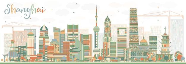 Shanghai-skyline mit farbgebäuden. vektor-illustration. geschäftsreise- und tourismuskonzept mit moderner architektur. bild für präsentationsbanner-plakat und website.