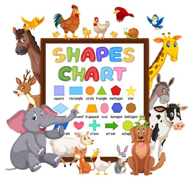Shapes-chart-board mit wilden tieren